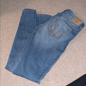 hollister super skinny light wash ripped jeans